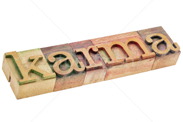 карма слово древесины тип изолированный текста Сток-фото © PixelsAway