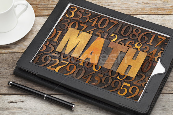 math (mathematics) word in wood type Stock photo © PixelsAway