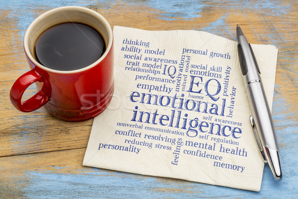 Inteligencia nube de palabras servilleta taza café Foto stock © PixelsAway
