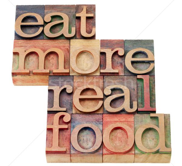 Yemek daha fazla gerçek gıda yalıtılmış Stok fotoğraf © PixelsAway