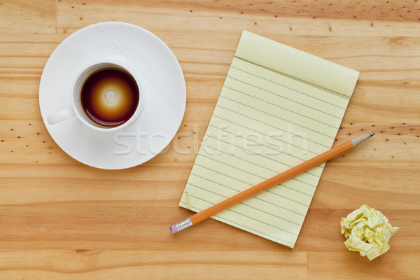 empty coffee cup and notepad Stock photo © PixelsAway