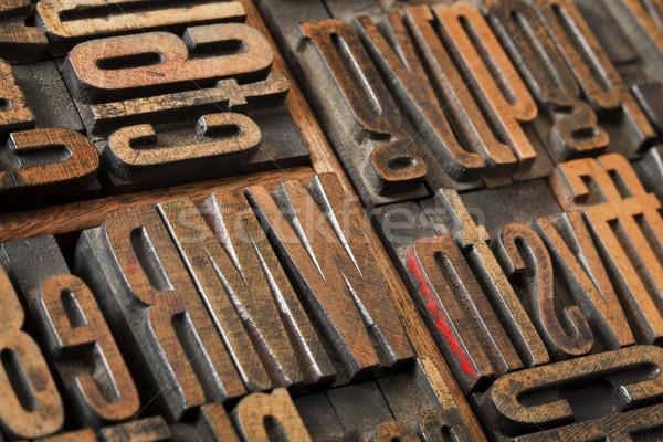 Foto stock: Antigo · tipo · abstrato · madeira · impressão