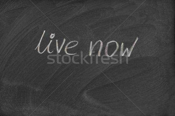 élet most kifejezés iskolatábla kézzel írott fehér Stock fotó © PixelsAway