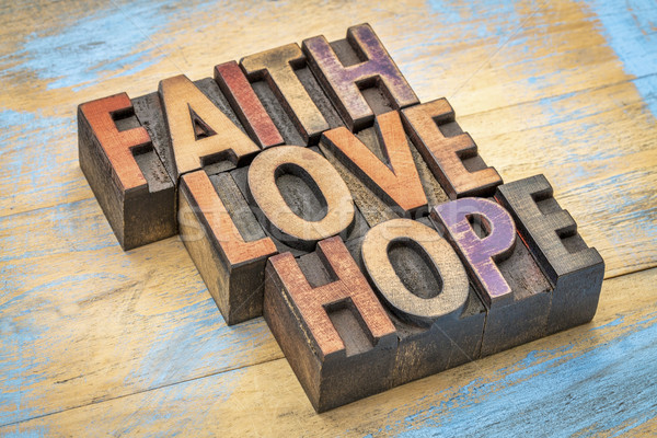 Fe amor esperanza madera tipo palabras Foto stock © PixelsAway