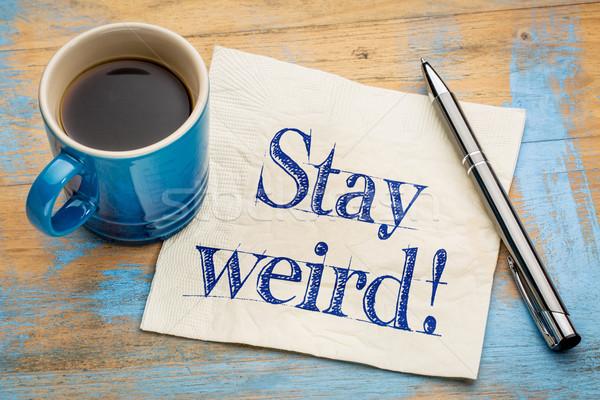 Permanecer raro consejo servilleta escritura taza Foto stock © PixelsAway
