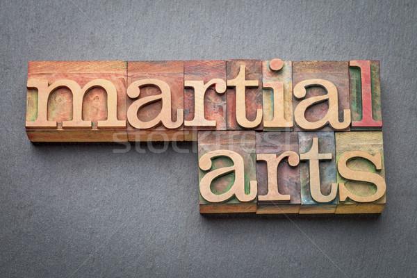 Vechtsporten woord abstract hout type Stockfoto © PixelsAway