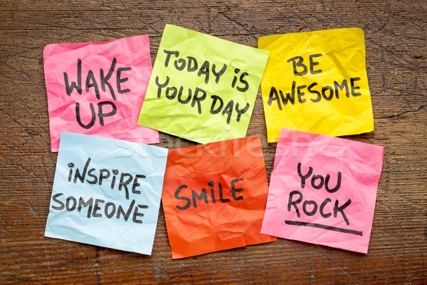 wake up and be awesome napkin concept Stock photo © PixelsAway