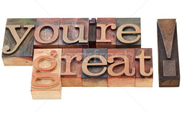 Groot compliment geïsoleerd woorden vintage hout Stockfoto © PixelsAway