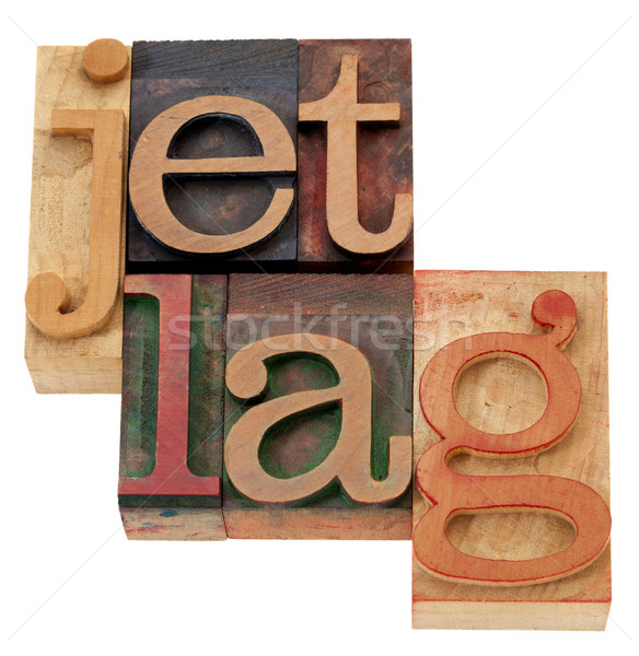 jet lag n letterpress type Stock photo © PixelsAway