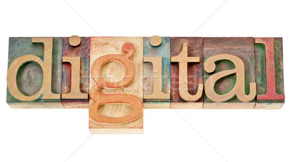 digital word in wood type Stock photo © PixelsAway