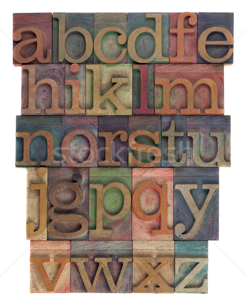 alphabet abstract - vintage wooden letterpress type Stock photo © PixelsAway