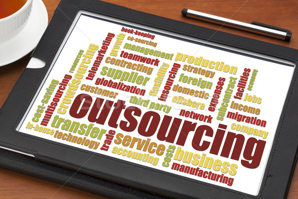 Outsourcing woordwolk digitale tablet beker thee Stockfoto © PixelsAway