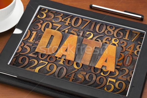 Veri kelime sayılar bağbozumu ahşap Stok fotoğraf © PixelsAway
