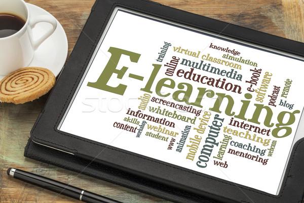 Online oktatás szófelhő online oktatás digitális tabletta Stock fotó © PixelsAway