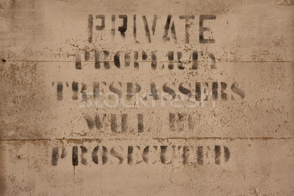 private property sign on concrete Stock photo © PixelsAway