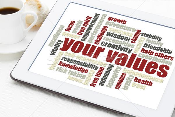 Stockfoto: Waarden · woordwolk · leven · digitale · tablet · beker