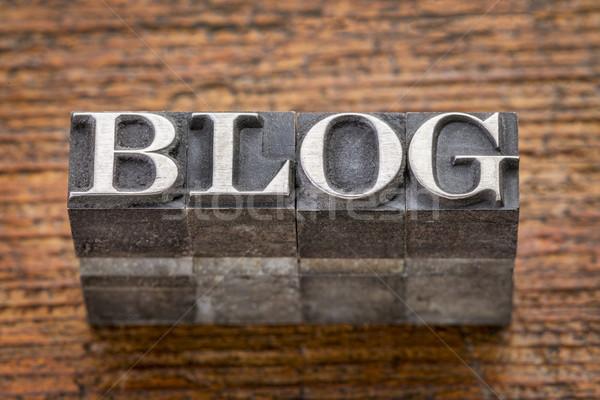 Stok fotoğraf: Blog · kelime · karışık · bağbozumu · Metal · tip