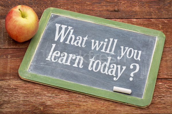 Ne öğrenmek bugün soru tahta kırmızı Stok fotoğraf © PixelsAway