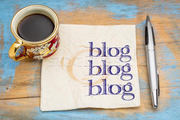 Blogging serviette blog tasse espresso café Photo stock © PixelsAway