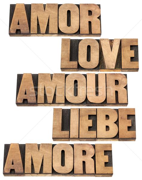 Stockfoto: Liefde · woord · talen · Engels · spaans · frans