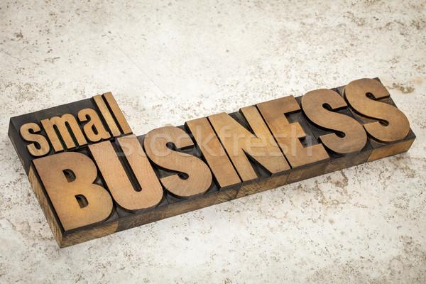Empresa de pequeno porte madeira tipo texto vintage Foto stock © PixelsAway