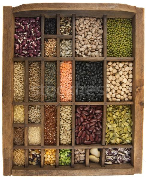 beans, grains, seeds in vintage typesetter box Stock photo © PixelsAway