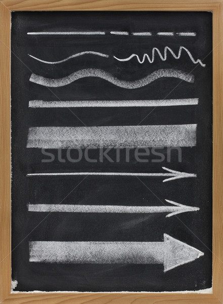 lines and arrows - white chalk on blackboard Stock photo © PixelsAway
