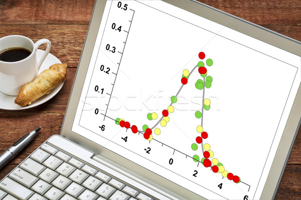 Adat disztribúció grafikon harang görbe laptop Stock fotó © PixelsAway