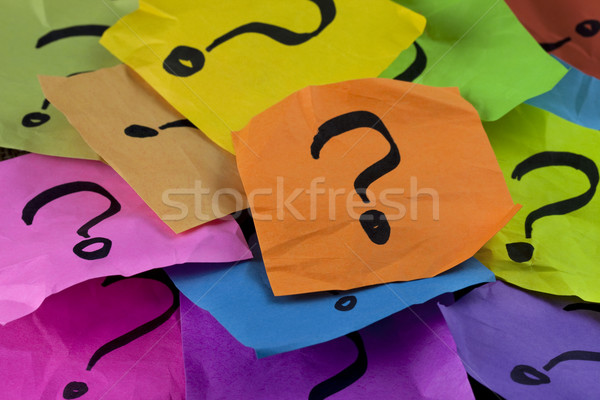 Questions prise de décision incertitude coloré sticky notes Photo stock © PixelsAway