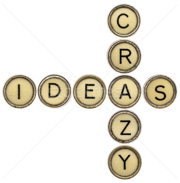 Crazy pomysły krzyżówka starych maszyny do pisania klucze Zdjęcia stock © PixelsAway