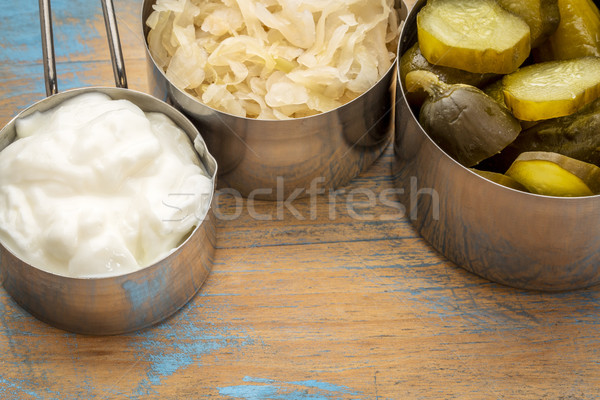 sauerkraut, pickles and yogurt Stock photo © PixelsAway