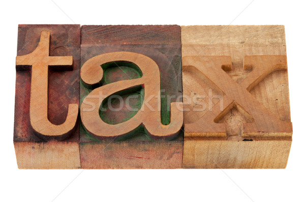 Vergi kelime ahşap yazı tipleri bağbozumu ahşap Stok fotoğraf © PixelsAway