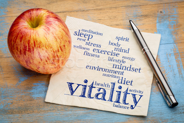 vitality  word cloud on napkin Stock photo © PixelsAway