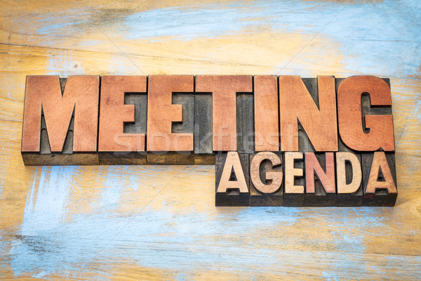 meeting agenda banner in letterpress wood type Stock photo © PixelsAway