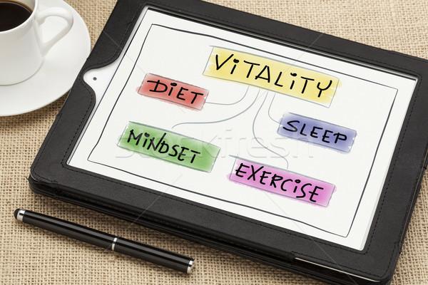 Foto d'archivio: Vitalità · digitale · tablet · dieta · sonno · esercizio