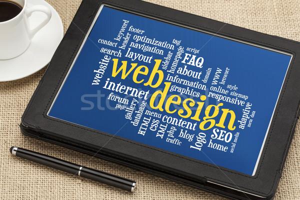 Zdjęcia stock: Web · design · chmura · słowo · cyfrowe · tabletka · kubek · kawy