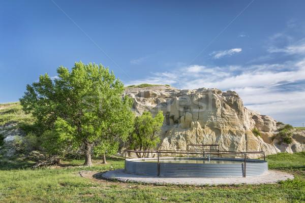 Vee water tank prairie rock klif Stockfoto © PixelsAway
