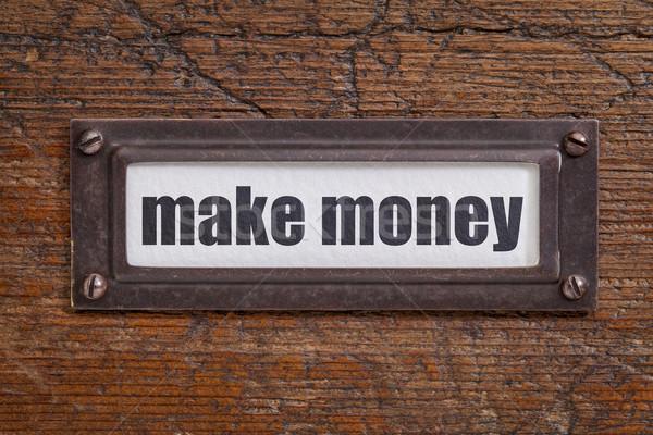 Dinheiro arquivo etiqueta bronze Foto stock © PixelsAway