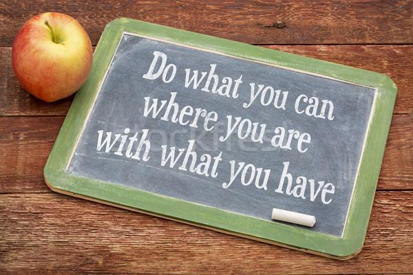 何 することができます 黒板 やる気を起こさせる 単語 赤 ストックフォト © PixelsAway