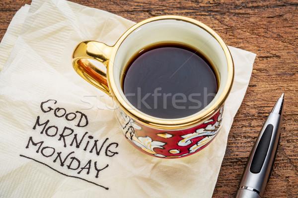 Sabah iyi peçete el yazısı fincan kahve karşılama Stok fotoğraf © PixelsAway
