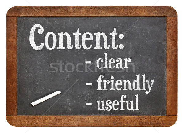 Clear, friendly and useful content on blackboard Stock photo © PixelsAway