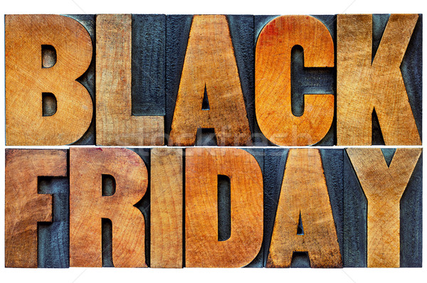 Black Friday banner in wood type Stock photo © PixelsAway