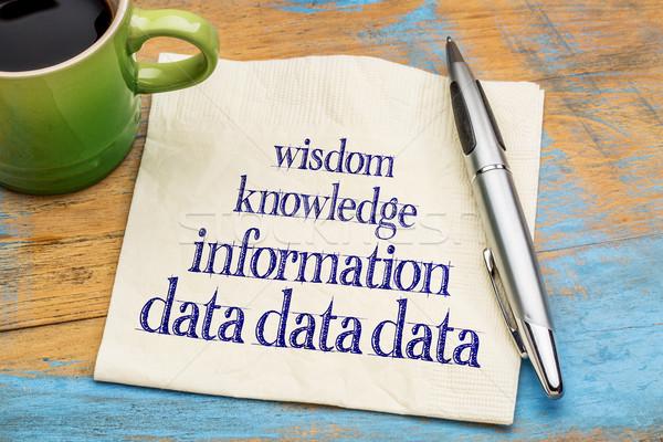 Datos información conocimiento sabiduría pirámide servilleta Foto stock © PixelsAway