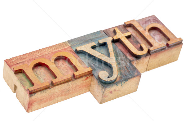 myth word in letterpress wood type Stock photo © PixelsAway