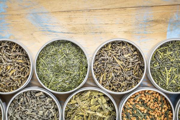Gevşek yaprak yeşil çay toplama üst görmek Stok fotoğraf © PixelsAway
