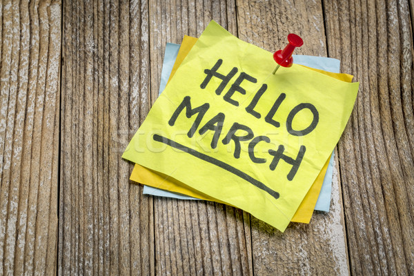 Hello March greetings on a sticky note Stock photo © PixelsAway
