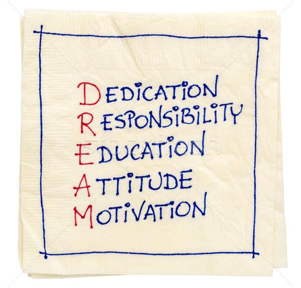 Traum Abkürzung Serviette Weihung Verantwortung Bildung Stock foto © PixelsAway