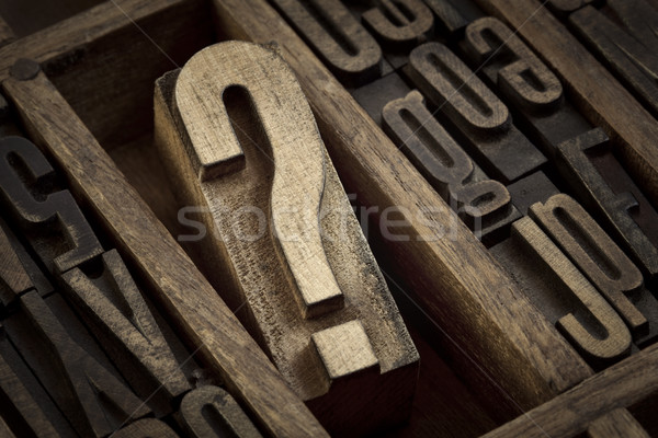 question mark in vintage letterpress type Stock photo © PixelsAway