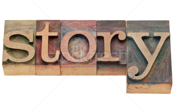 Stockfoto: Verhaal · woord · type · geïsoleerd · vintage