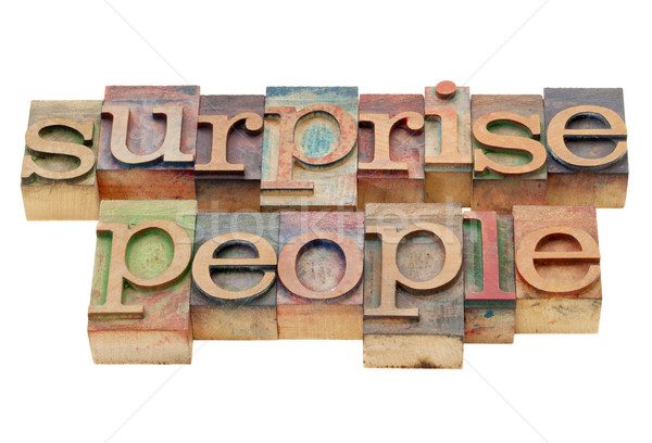 Stock photo: surprise people in wood type